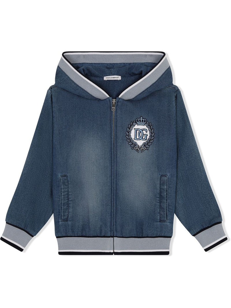 DOLCE & GABBANA KIDS Crest-embroidered jacket Blue