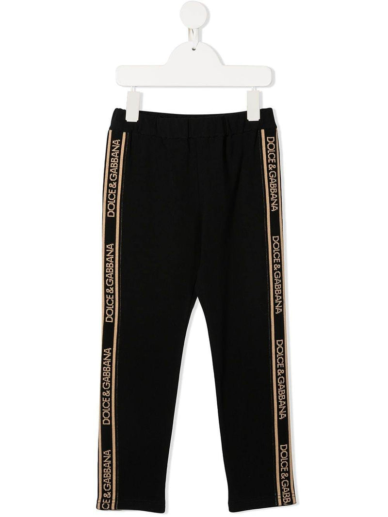 DOLCE & GABBANA KIDS Side Stripe Logo Track Pants Black