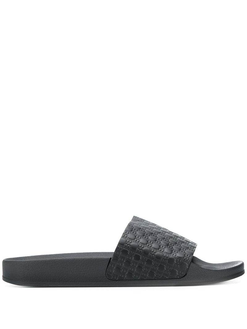 BALMAIN Embossed Logo Sliders Black