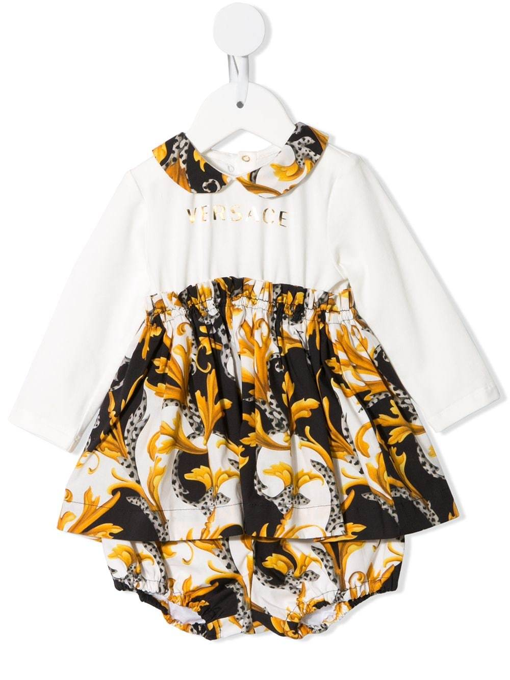 VERSACE KIDS Baby Baroque Print Dress White/Gold