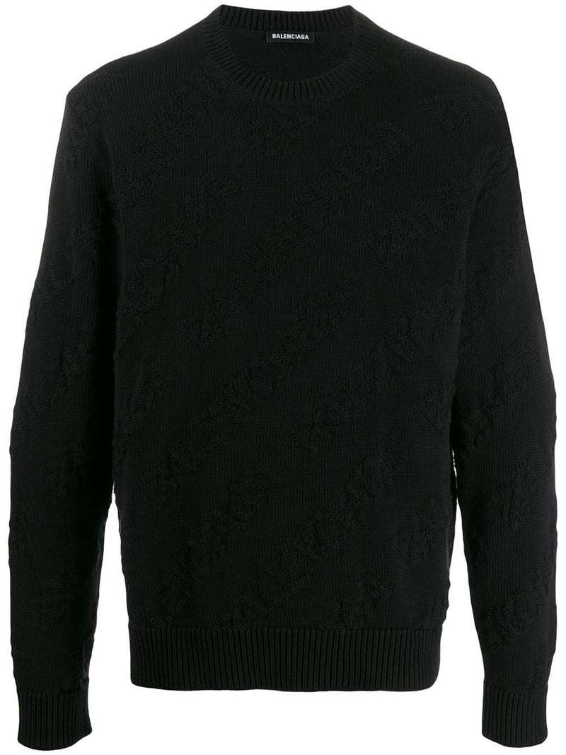 Balenciaga all-over logo knitted sweatshirt black - Maison De Fashion