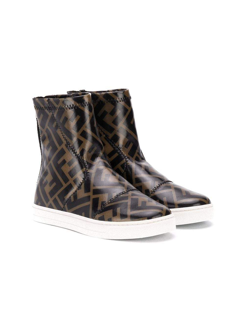 FENDI KIDS FF Monogram Logo Ankle Boots Brown