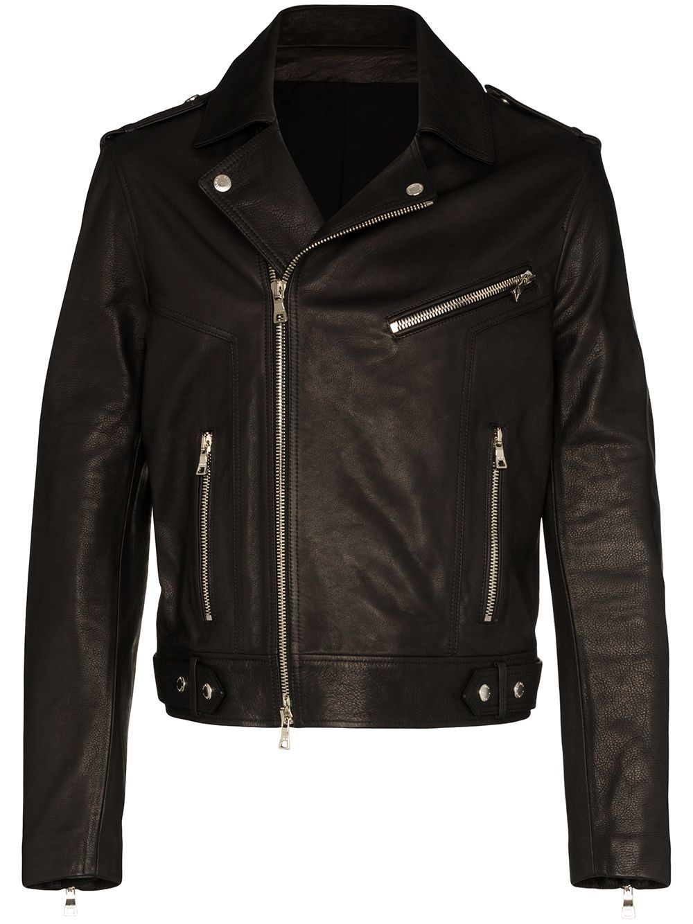 BALMAIN Logo Leather Biker Jacket Black