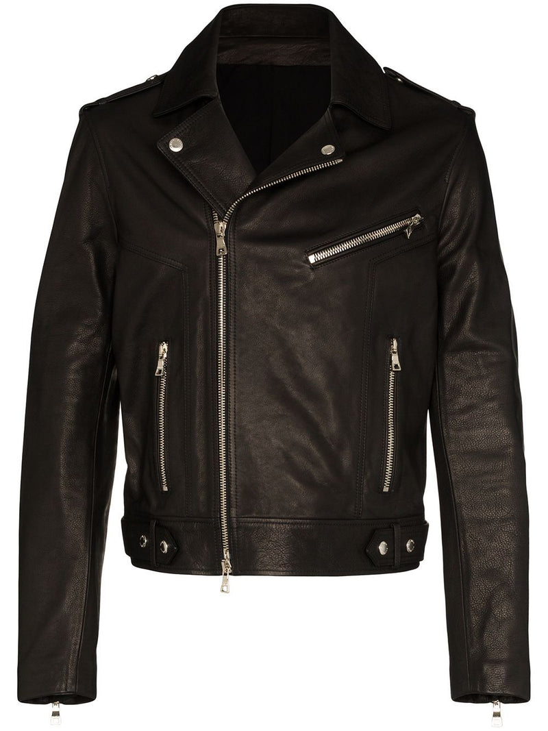 BALMAIN Logo Leather Biker Jacket Black - Maison De Fashion