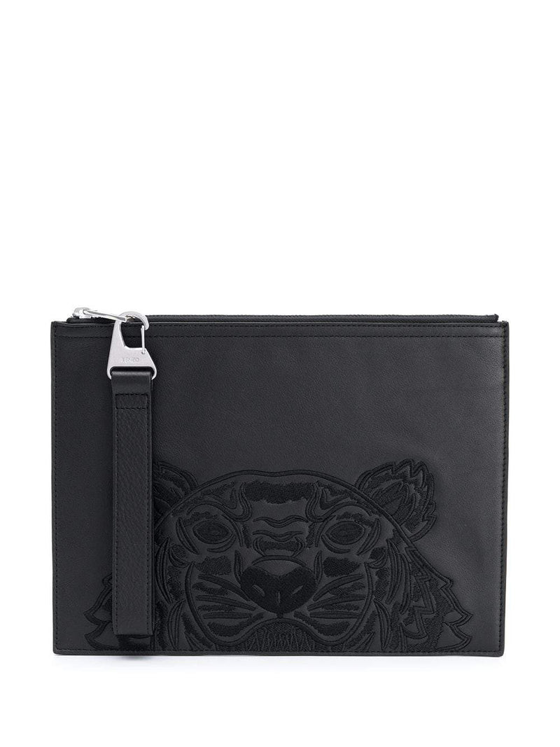 Kenzo Tiger Embroidered Zipped Strap Clutch Black