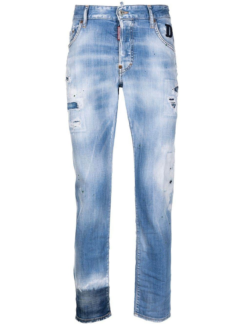 DSQUARED2 Ripped Straight Leg D2 Patch Jeans