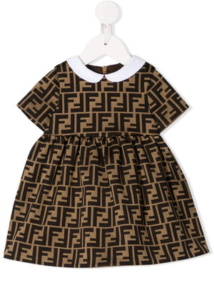 FENDI KIDS infant FF motif dress brown - Maison De Fashion