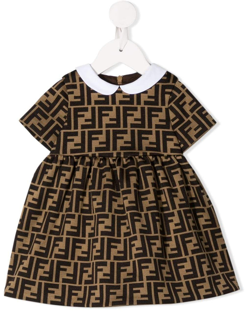 FENDI KIDS infant FF motif dress brown
