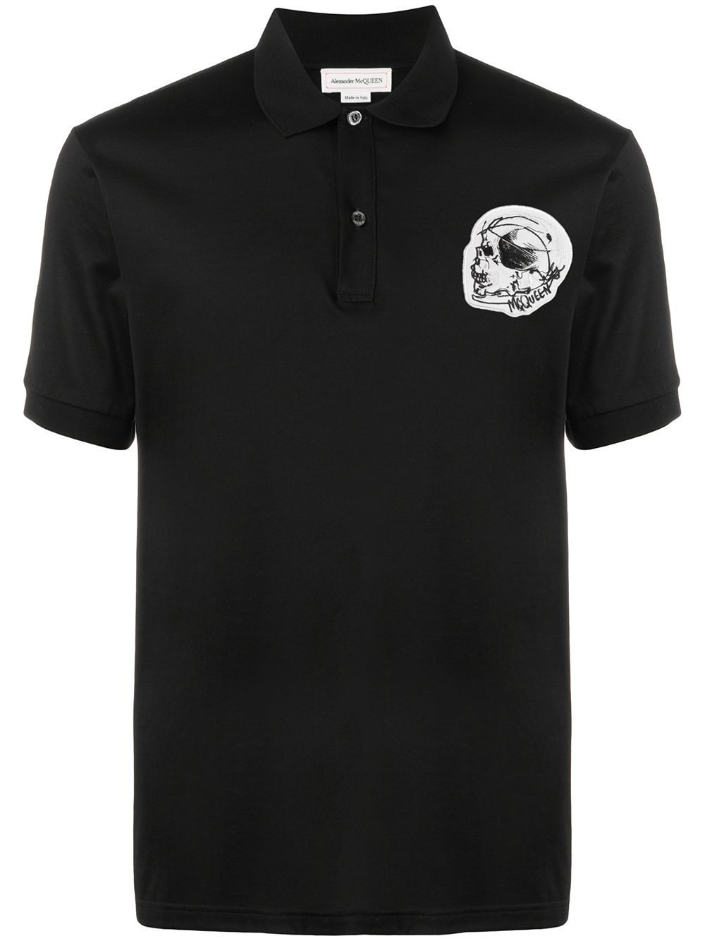 Alexander McQueen Skull Embroidered Polo Shirt Black