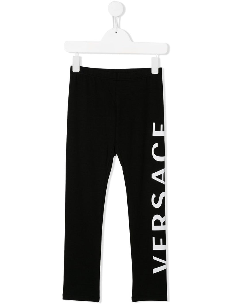 VERSACE KIDS logo printed leggings black