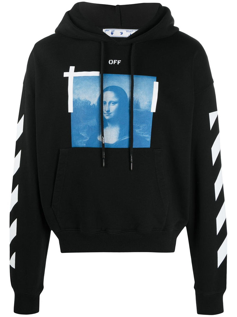 OFF-WHITE Blue Mona Lisa Print Hoodie Black