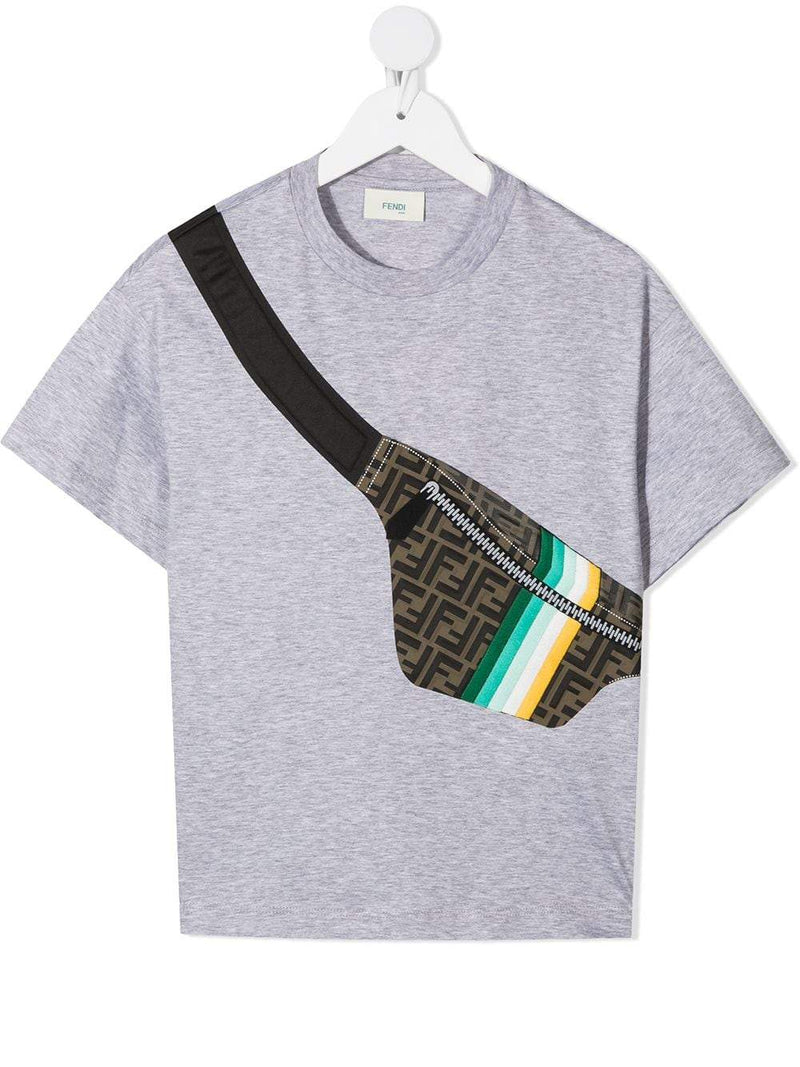 FENDI KIDS Belt Bag T-shirt Grey