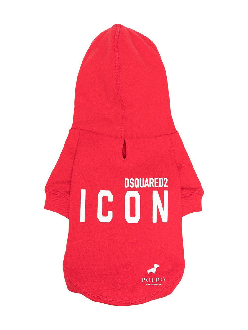 DSQUARED2 Icon Hooded Dog Sweatshirt Red/White