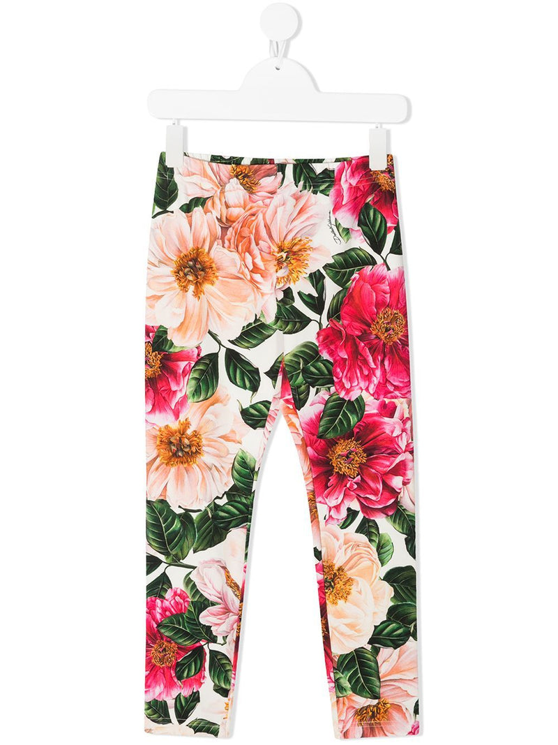 DOLCE & GABBANA KIDS Floral-print cotton leggings White/Pink