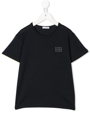 DOLCE & GABBANA KIDS logo patch t-shirt navy - Maison De Fashion