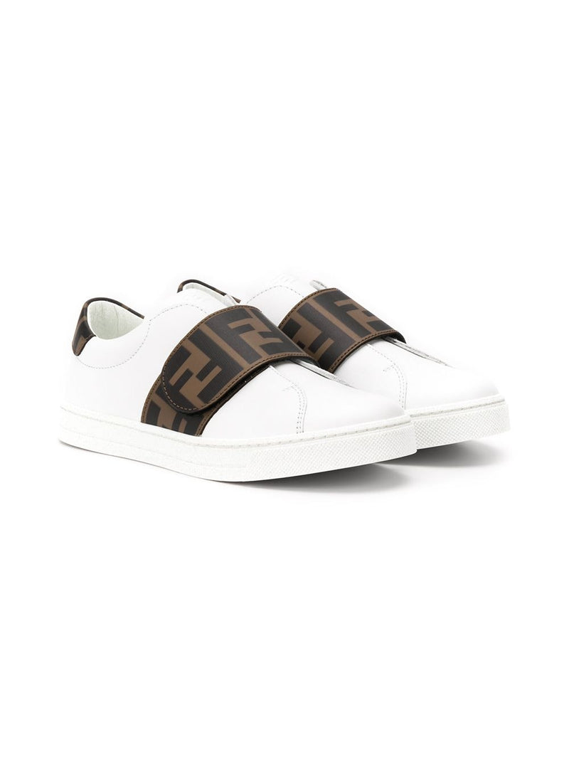 FENDI KIDS FF logo strap sneakers white