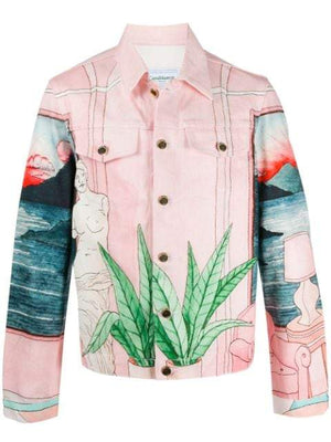 CASABLANCA hand-painted denim jacket pink - Maison De Fashion