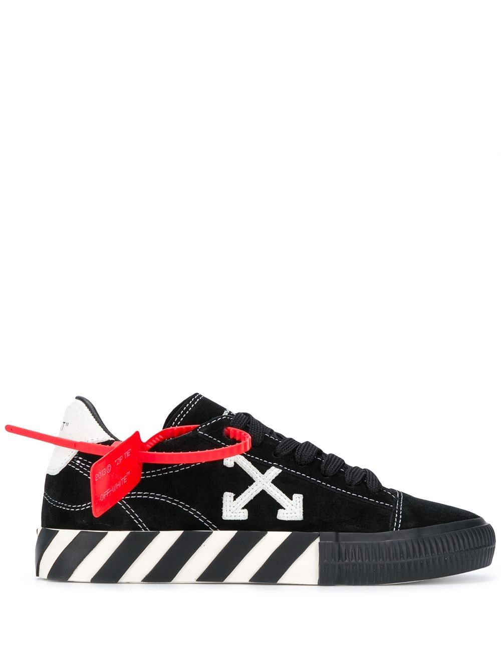OFF-WHITE Contrast Stitched Low Vulcanized Sneakers Black - Maison De Fashion