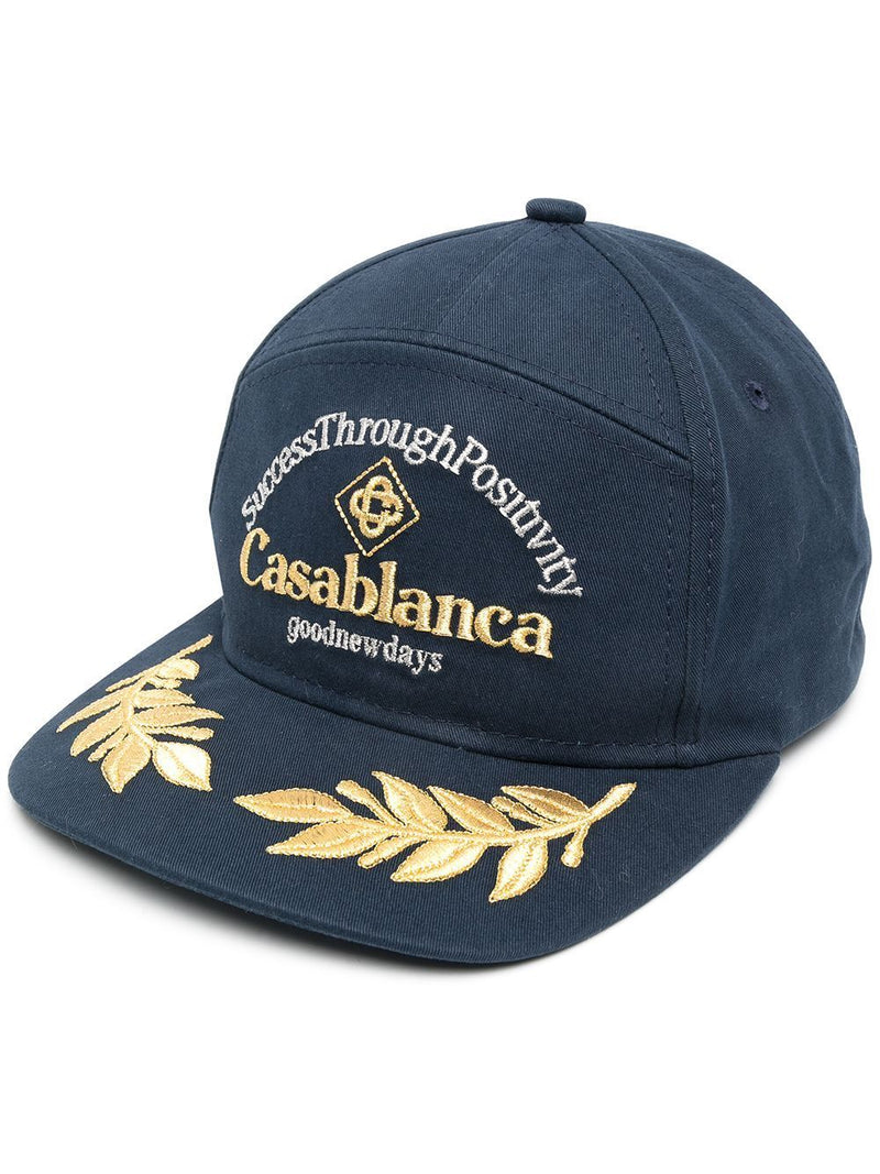 CASABLANCA Logo Embroidered Cap Navy - Maison De Fashion