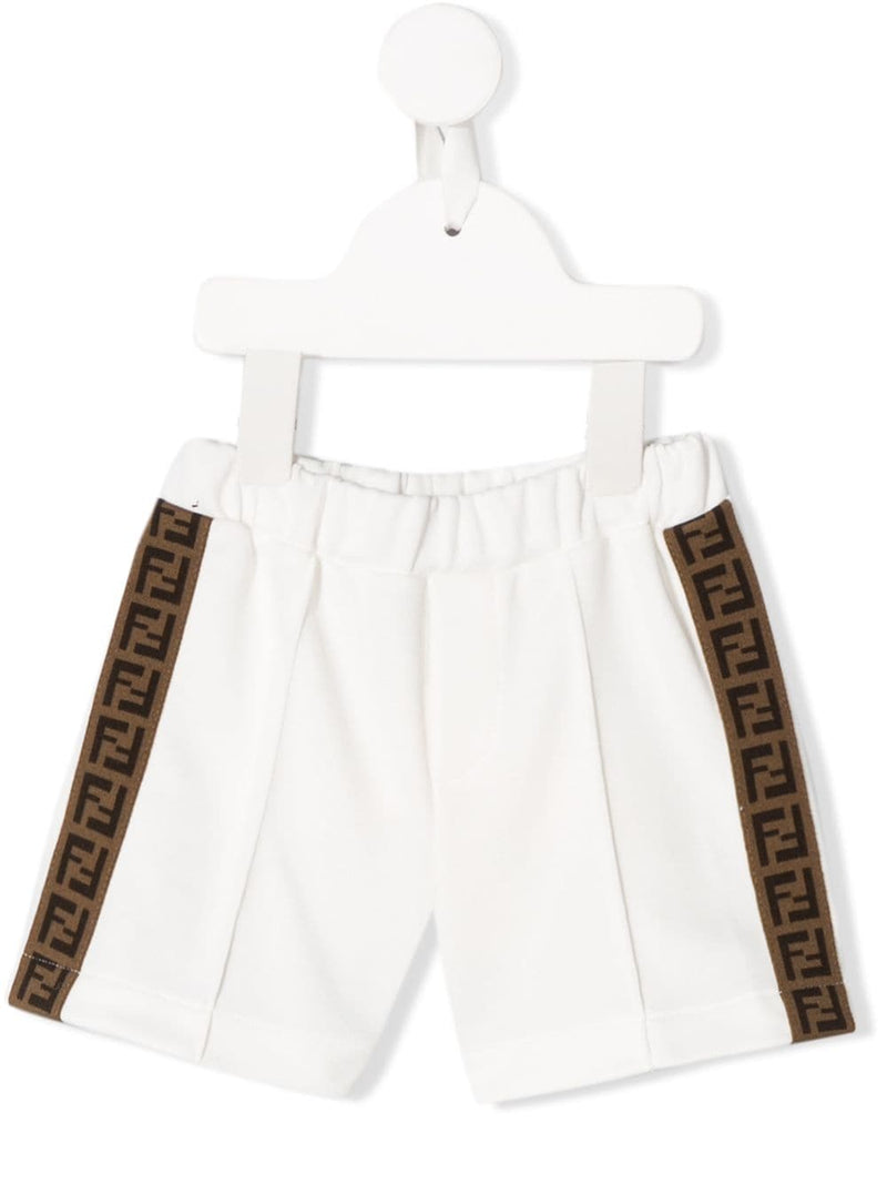 FENDI KIDS FF logo trim shorts white