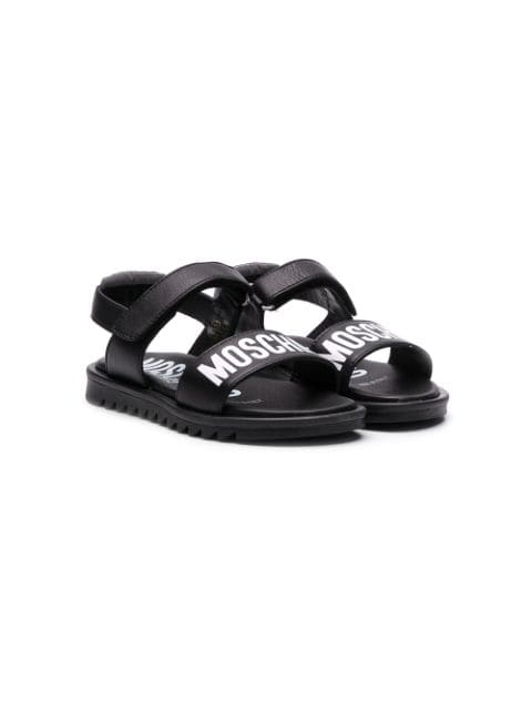 MOSCHINO logo printed open toe sandals