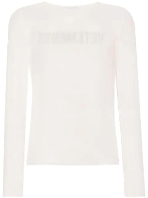 VETEMENTS logo printed mesh top - Maison De Fashion