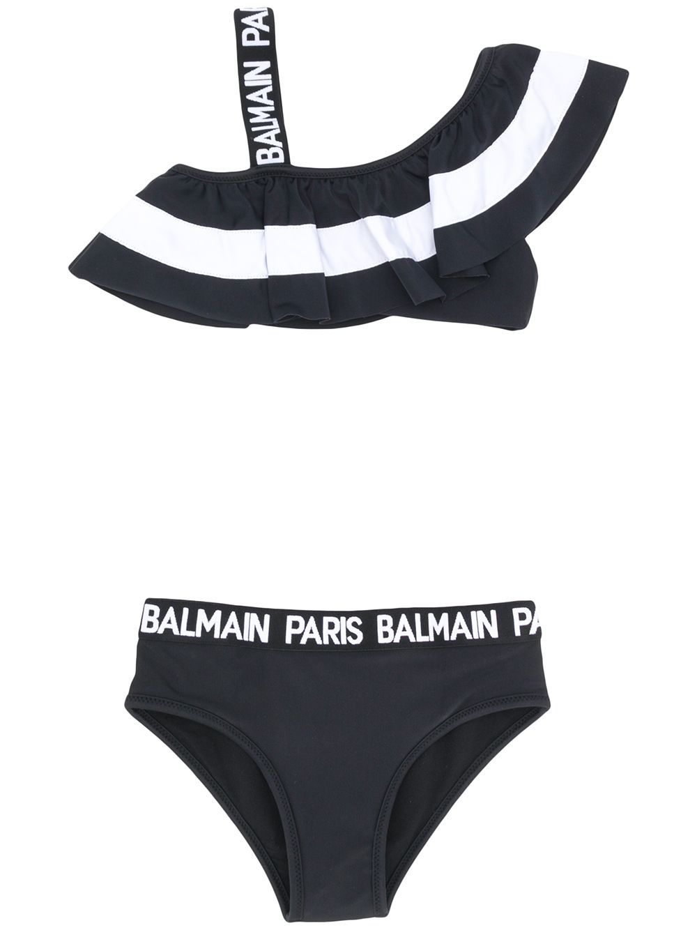 BALMAIN KIDS asymmetric bikini black/white - Maison De Fashion