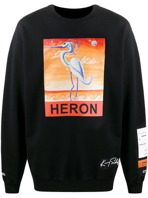 HERON PRESTON Swan Print Sweatshirt Black