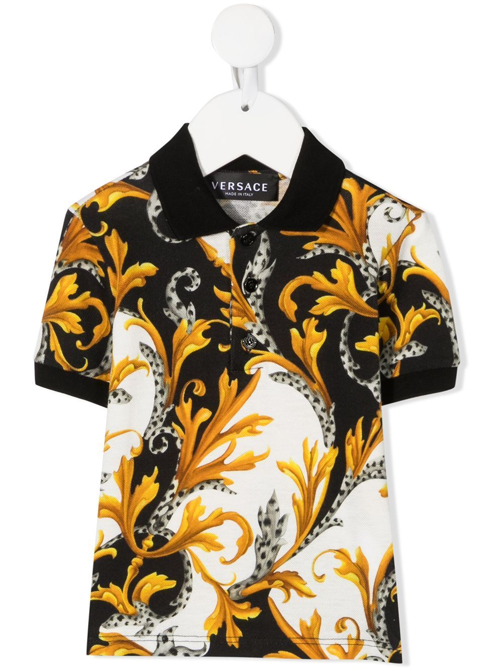 VERSACE KIDS Baby Baroque Print Polo Shirt White/Gold
