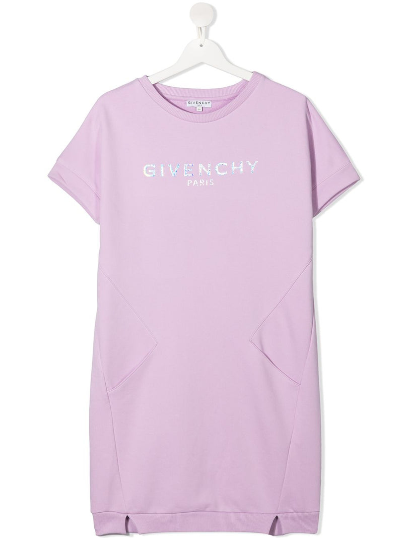 GIVENCHY KIDS Metallic Logo T-Shirt Dress Purple