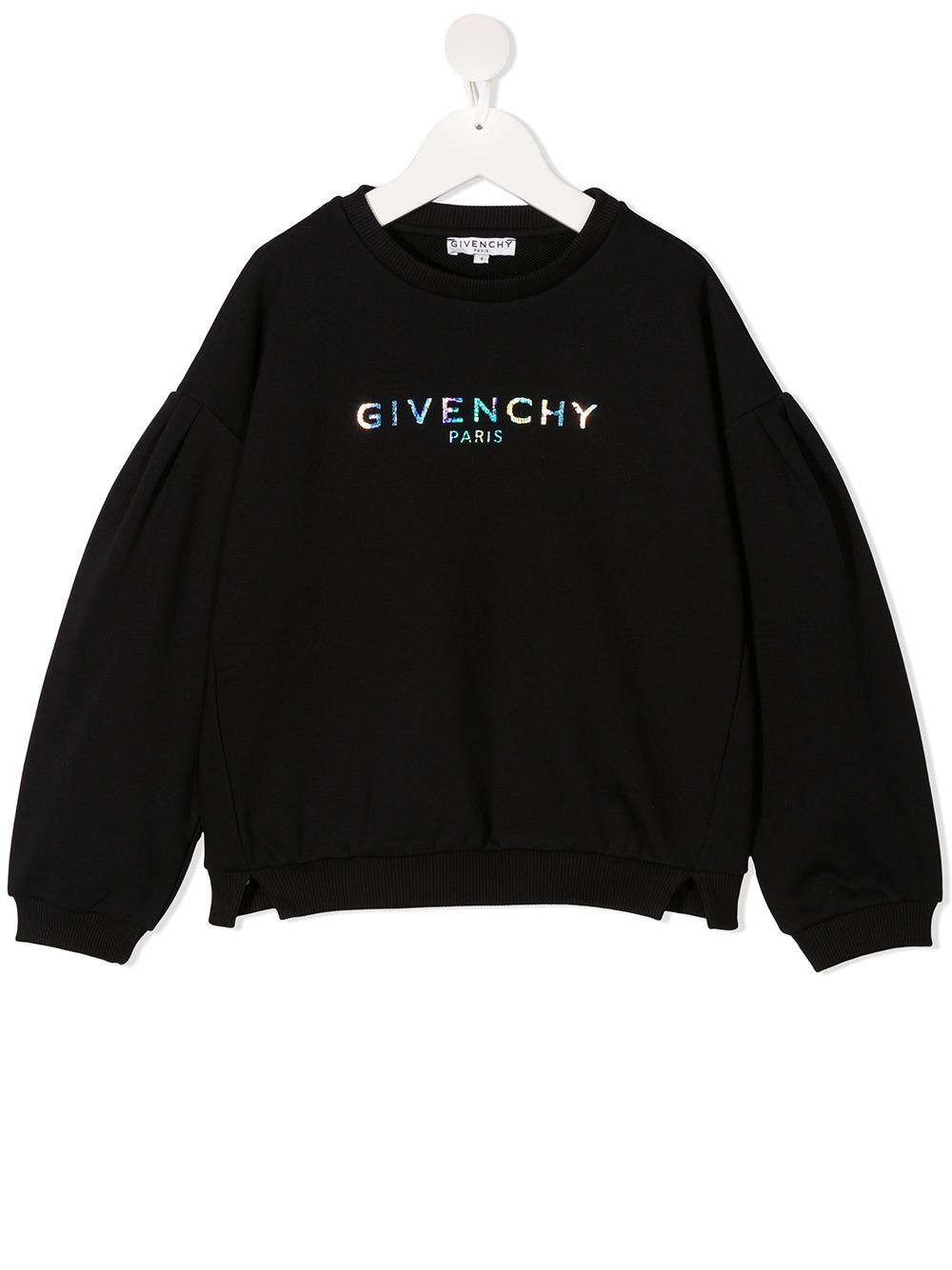GIVENCHY KIDS Iridescent logo print sweater Black