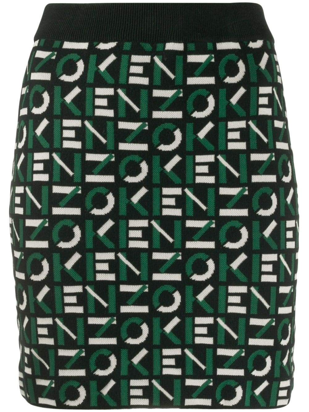 KENZO WOMEN All Over Logo Skirt Navy
