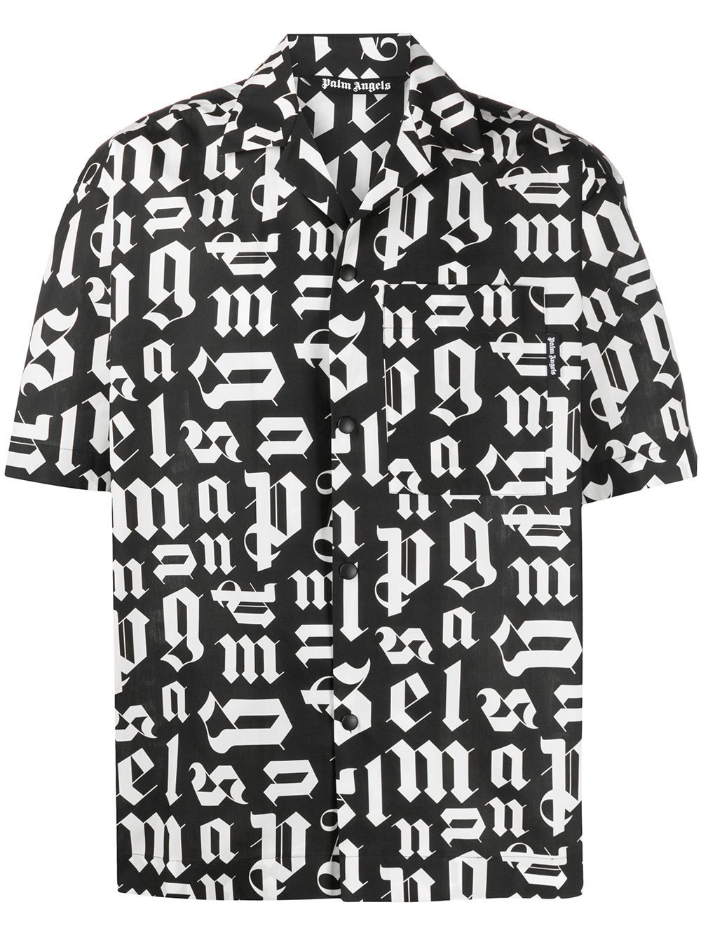 PALM ANGELS Broken Monogram Shirt Black/White - Maison De Fashion