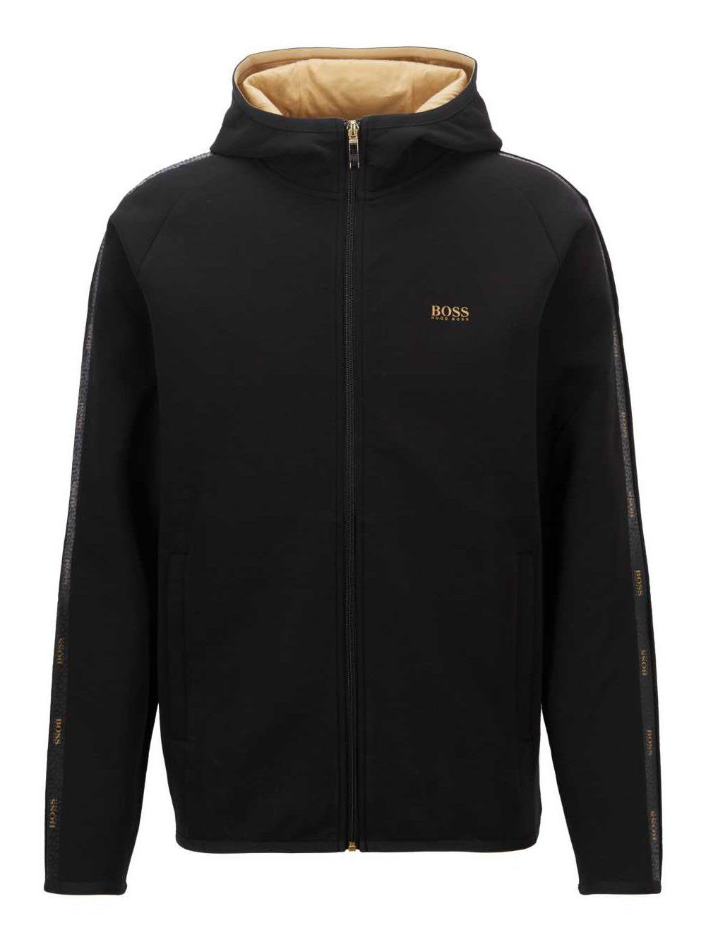 BOSS Interlock fabric hooded sweatshirt Black