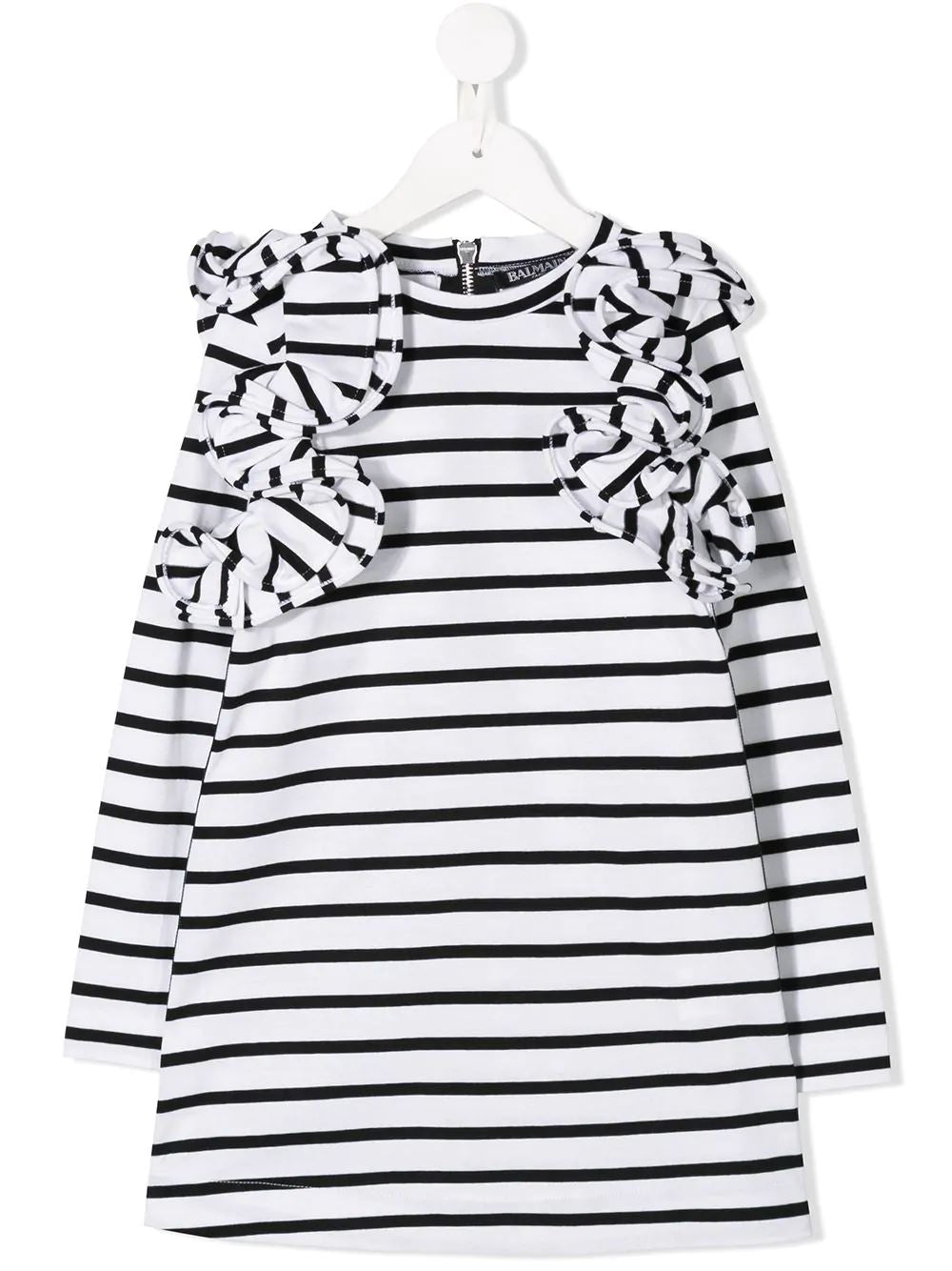BALMAIN KIDS striped dress white/black - Maison De Fashion