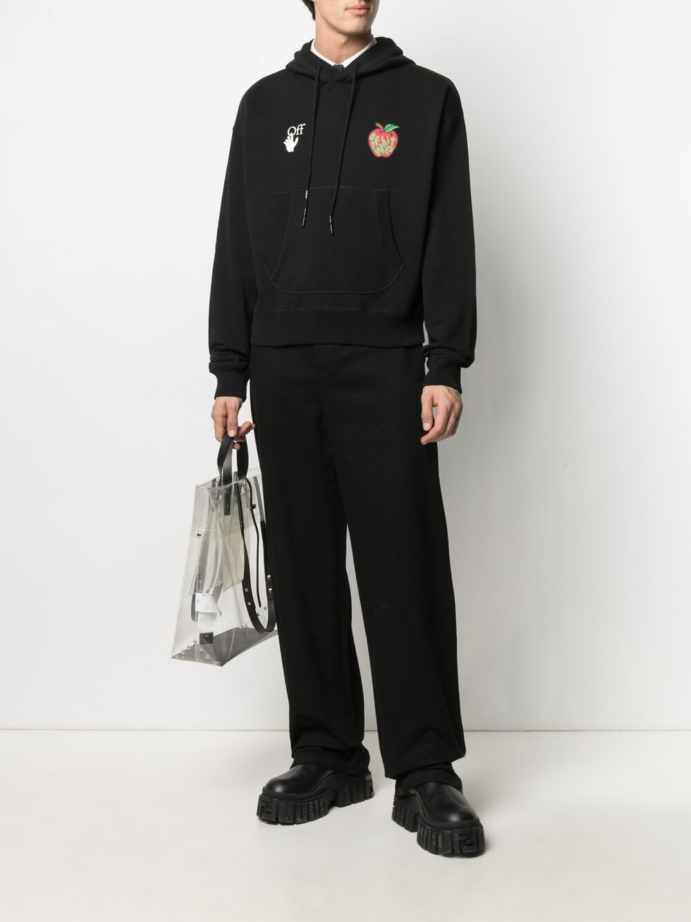 OFF-WHITE Apple Flatlock Hoodie Black
