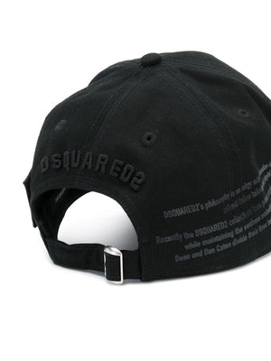 DSQUARED2 icon with logo cap black on black - Maison De Fashion