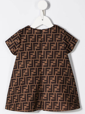 FENDI KIDS infant FF patterned dress brown