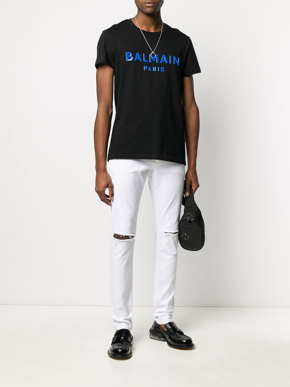 BALMAIN gel logo t-shirt black/blue
