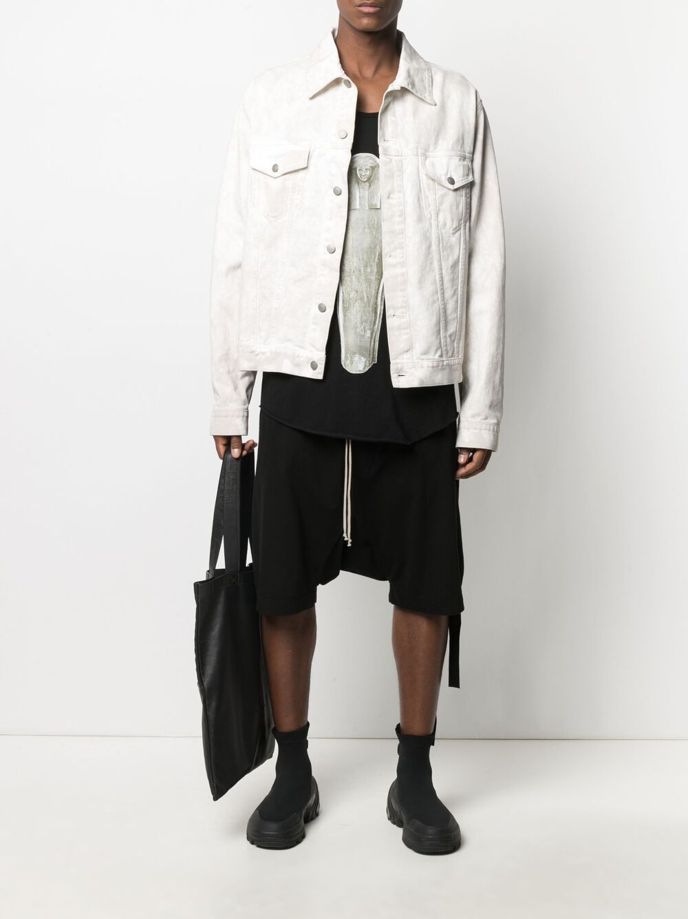 RICK OWENS DRKSHDW Drop-crotch cotton shorts Black