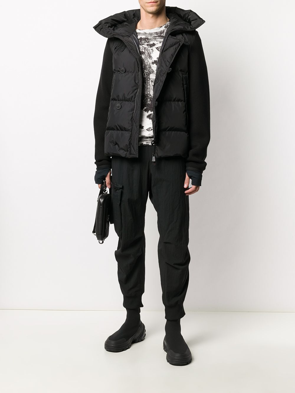 MONCLER GRENOBLE Panelled Padded Jacket Black