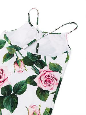 DOLCE & GABBANA KIDS Rose Print Swimsuit White