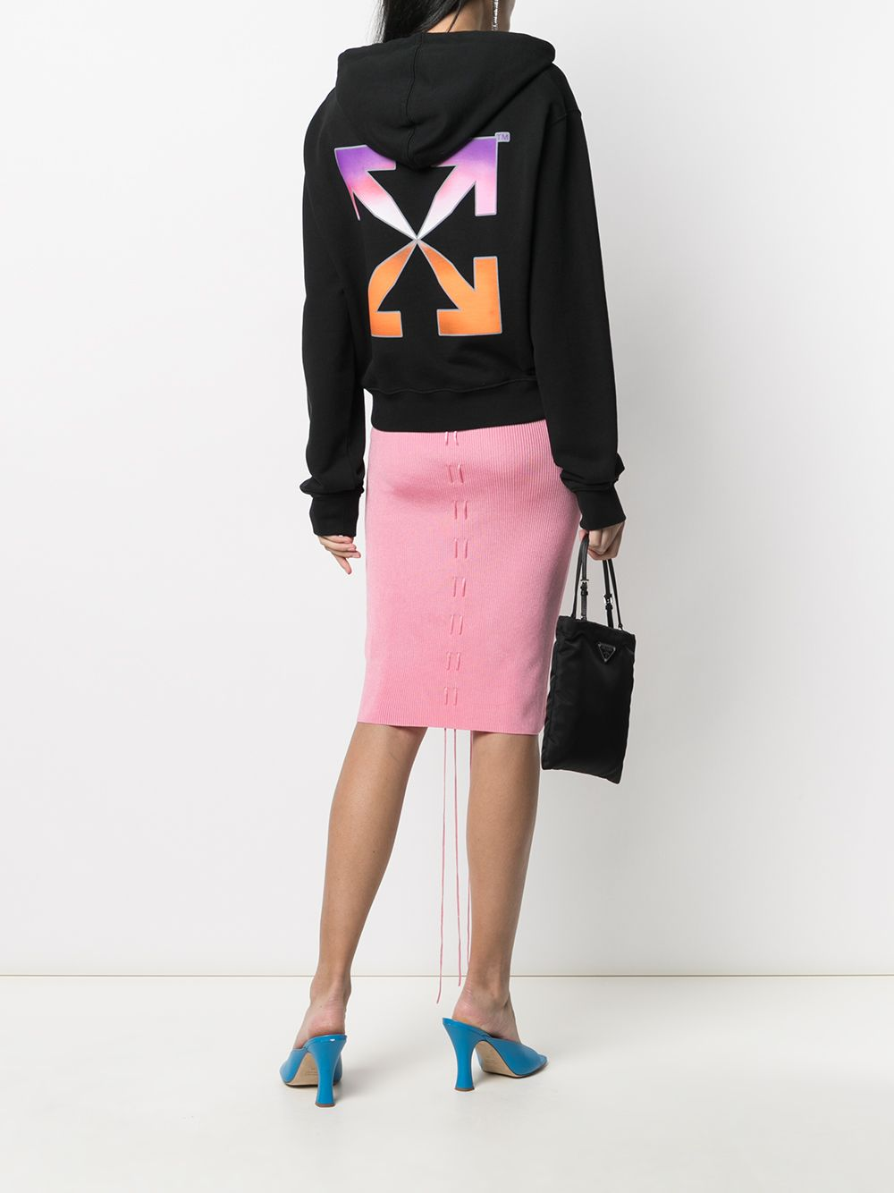 OFF-WHITE Women Gradient Crop Hoodie Black - Maison De Fashion