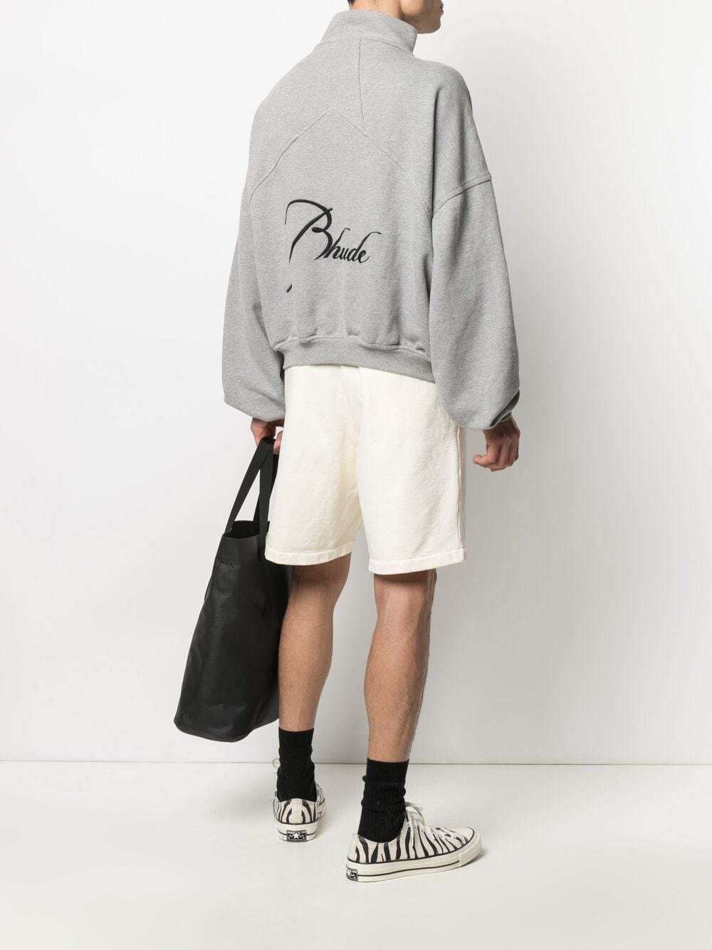 RHUDE Quarter Zip Logo Jacket Grey