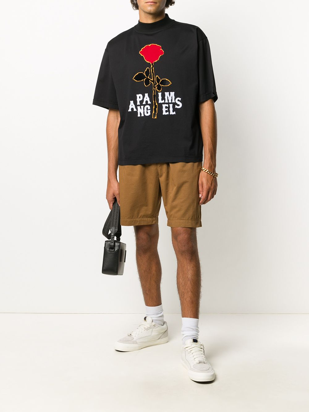 PALM ANGELS Rose Boxy T-shirt Black
