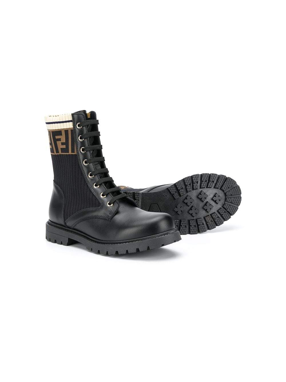 FENDI KIDS FF Logo Boots Black