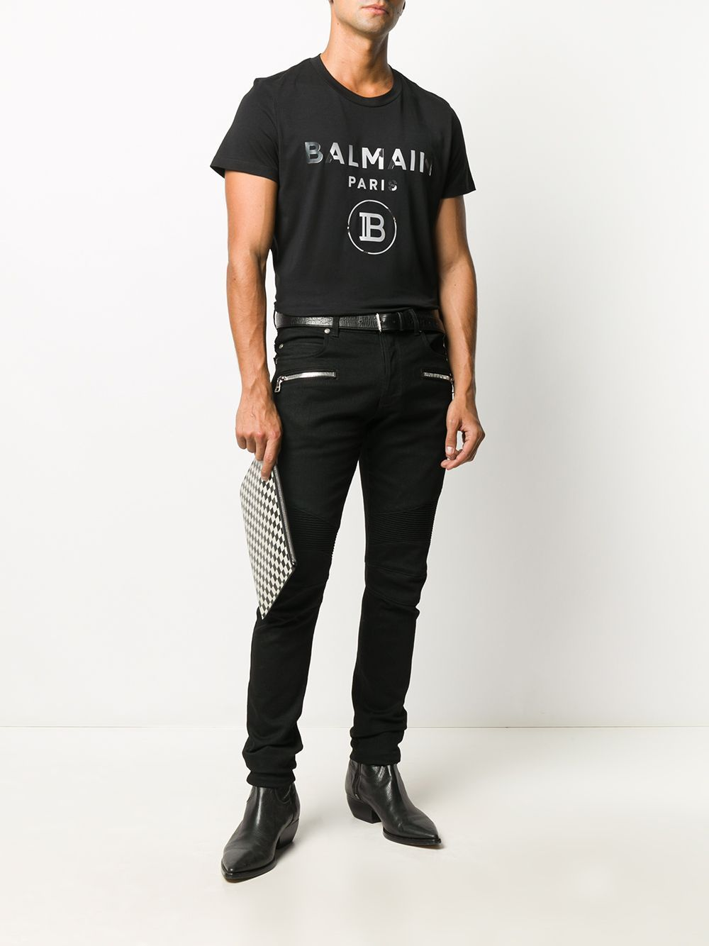 BALMAIN Mirrored Logo T-Shirt Black