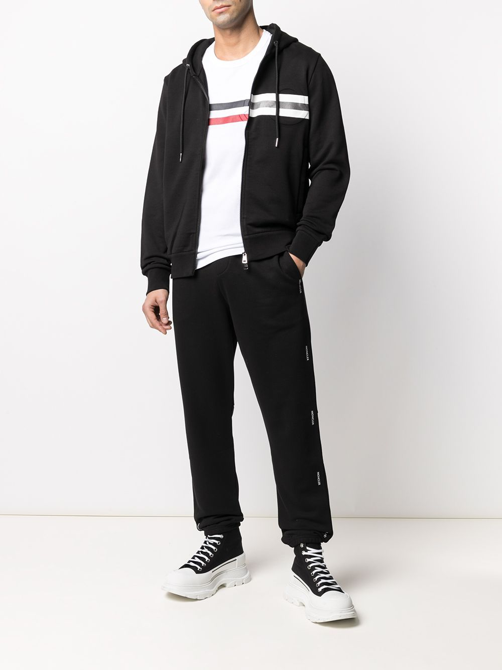 Moncler Logo Print Sweatpants Black