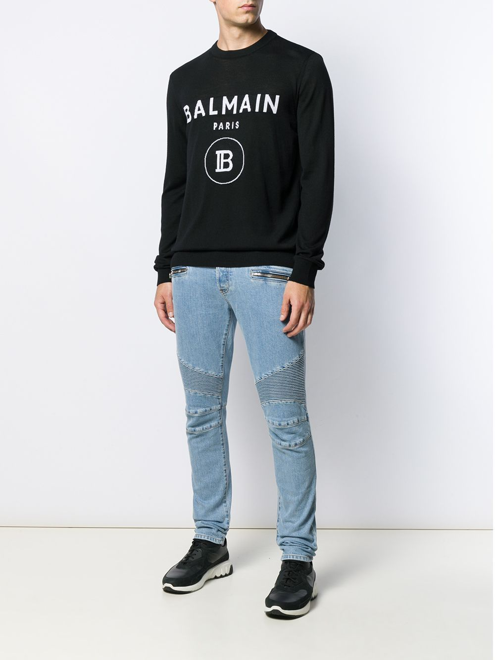 BALMAIN logo knitted crew neck sweatshirt black/white