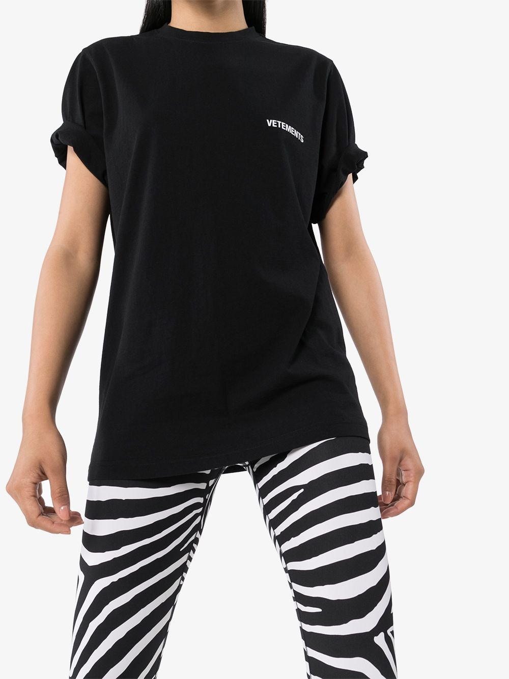 Vetements oversized logo-print T-shirt black